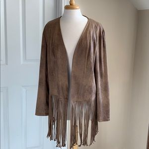 Chico's Faux Suede Jacket - Fringe - Brown NWT- XL